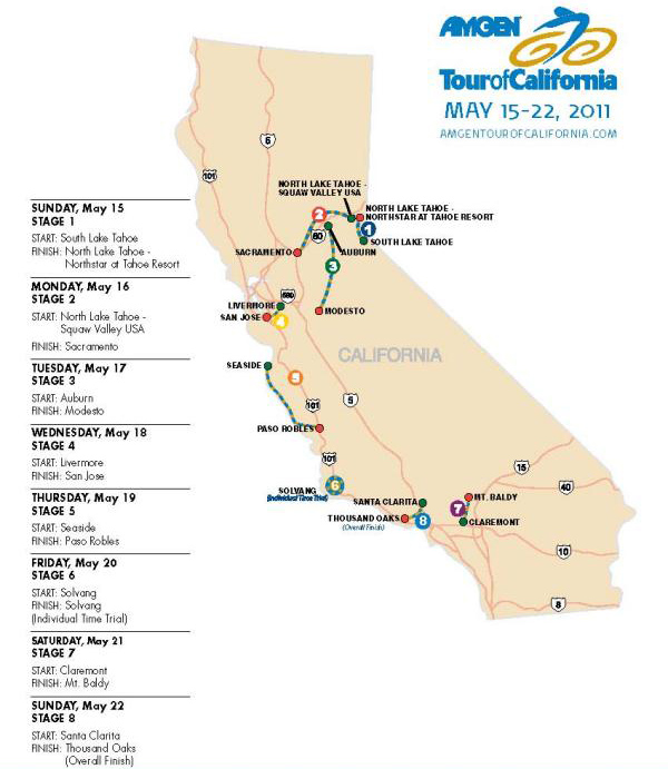 Amgen Tour Of California Live Video Route Teams Results - Mt baldy map on map of us